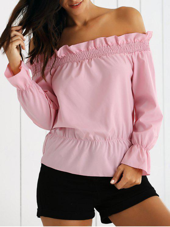 Flounce Off The Shoulder Top - ROSE PÂLE M