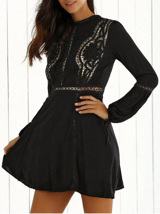 women Lace Spliced Long Sleeve A-Line Dress - BLACK L