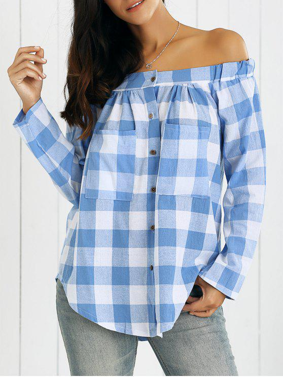chic Off Shoulder Plaid Shirt - BLUE AND WHITE XL
