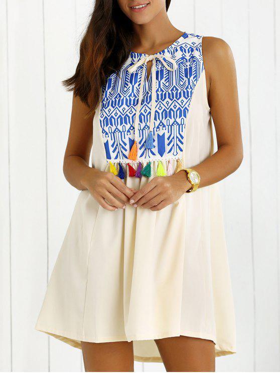 Imprimé Glands Trapeze Dress - Blanc L