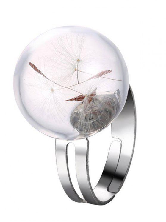 Alliage de verre sec Dandelion Anneau - Argent Taille Unique