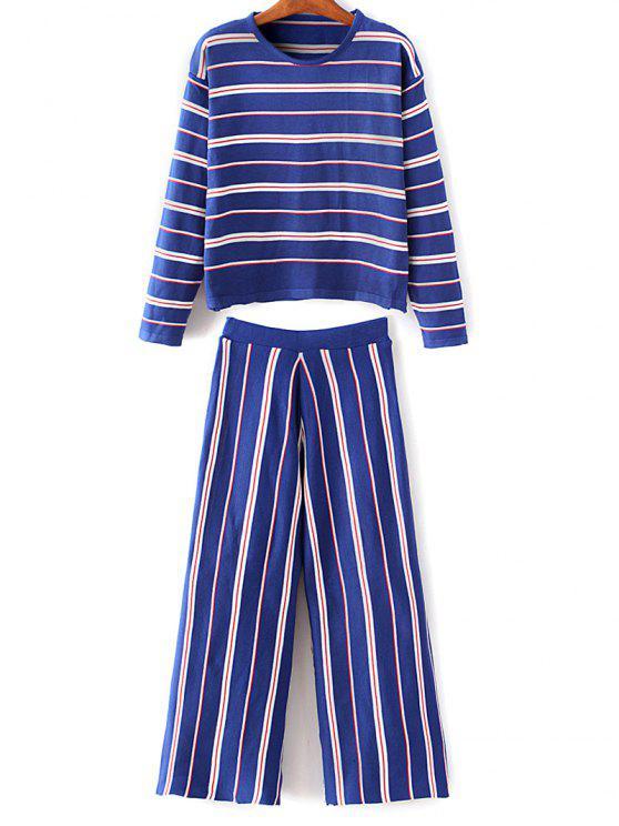 Prendas de punto a rayas con pantalones - Azul Única Talla