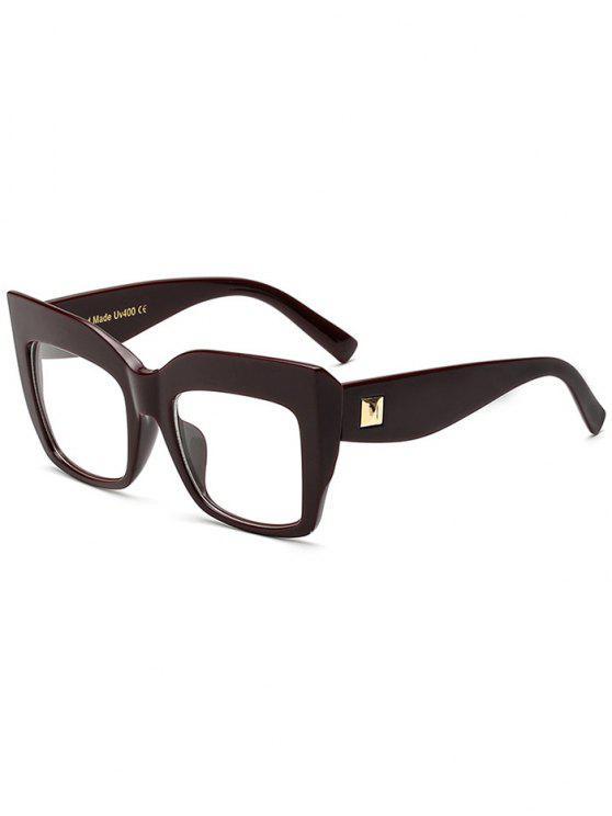Lente transparente cuadrados de gran tamaño gafas de sol - Vino Rojo