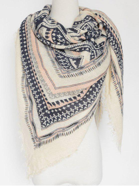 chic Cross Photo Frame Fringed Square Scarf - WHITE