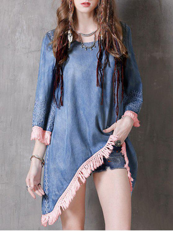 unique Sharkbite Hem Denim Dress - BLUE AND PINK L