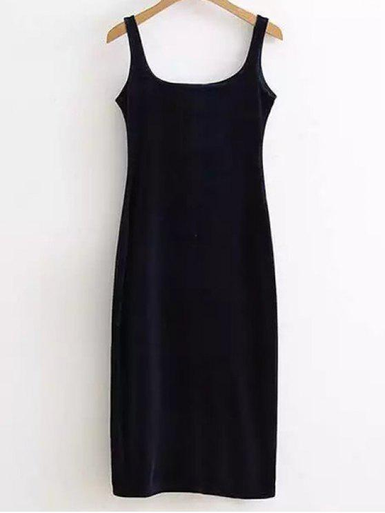 hot Back Slit Velvet Tank Dress - PURPLISH BLUE ONE SIZE