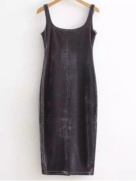 Backup Slit vestido de veludo Tanque - Cinza Escuro Tamanho único