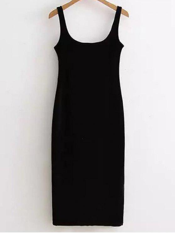 outfit Back Slit Velvet Tank Dress - BLACK ONE SIZE