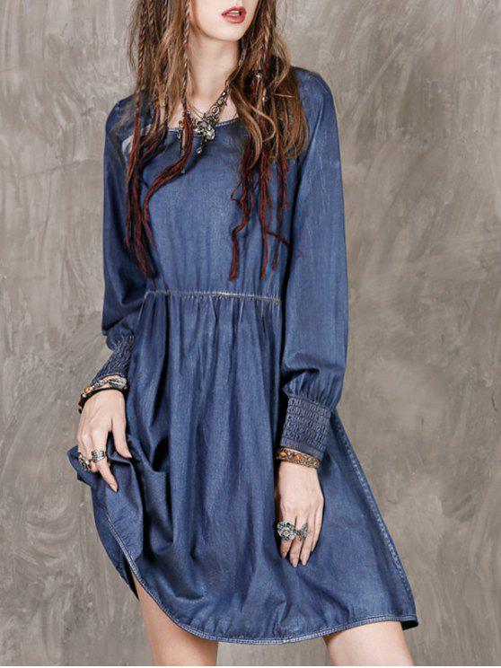 ladies Long Sleeve Vintage Denim Dress - BLUE L