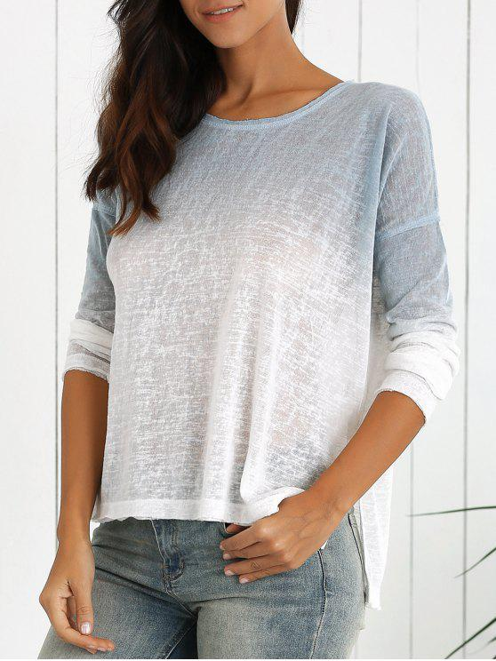 best Ombre High-Low Round Neck Long Sleeve Sweater - WHITE L