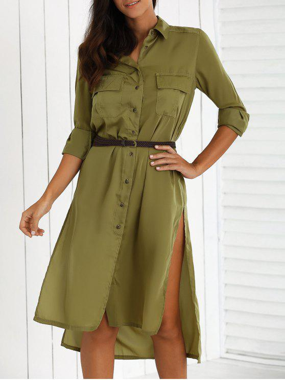 outfits Split High Low Military Shirt Dress with Pocket - GREEN S