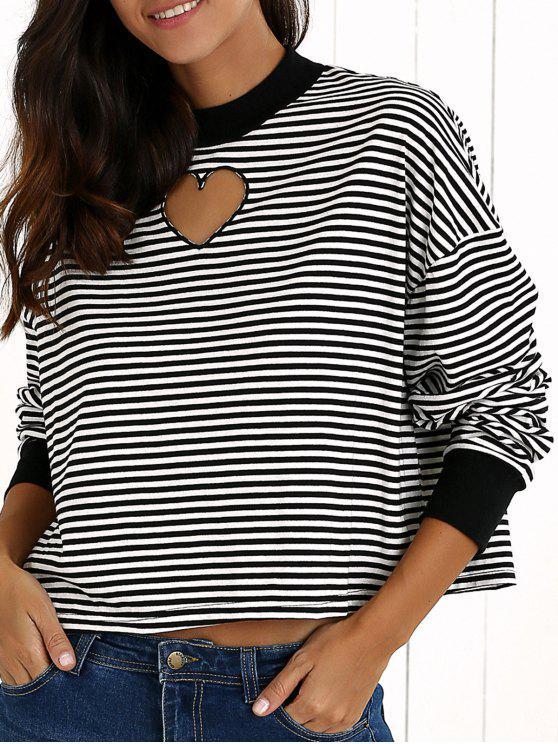 women Stripe Long Sleeve Cutout Sweatshirt - WHITE AND BLACK M