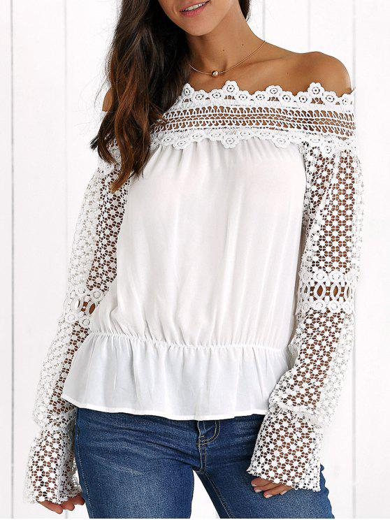 See Through Off The Shoulder Blouse Dentelle - Blanc XL