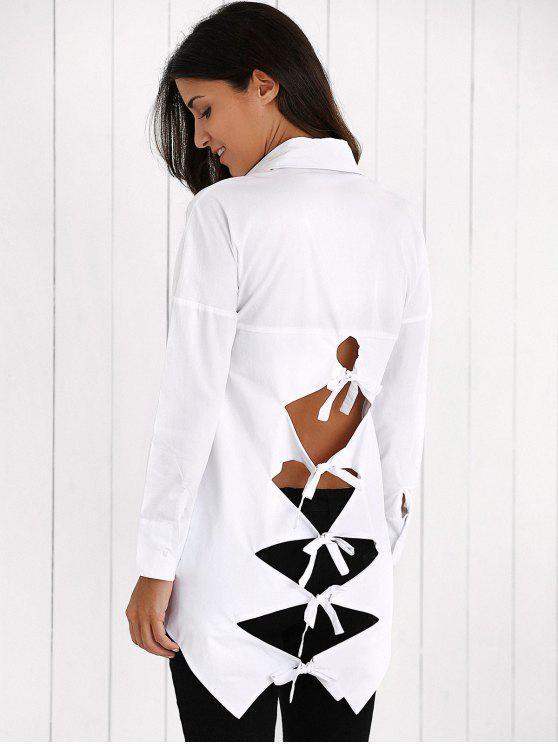 online Lace Up Weaving Cut Shirt - WHITE 2XL