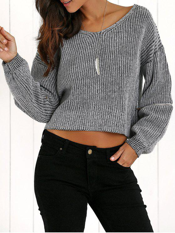 best V-Neck Zipper Sleeve Pullover Sweater - DEEP GRAY ONE SIZE
