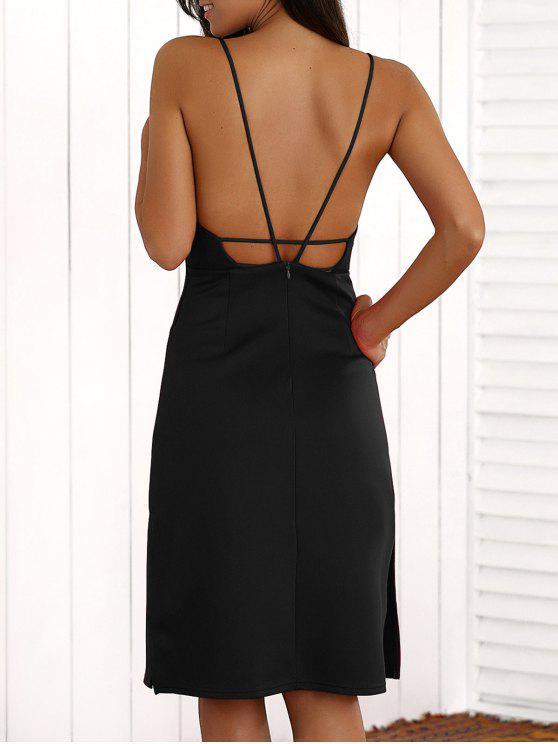 Vestido a media pierna con solapamiento de tiras - Negro 2XL
