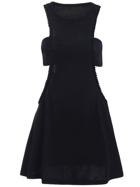 Negro fotografica semi formal mini vestido - Negro XL
