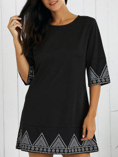 Print Round Neck Mini Dress - Black Xl