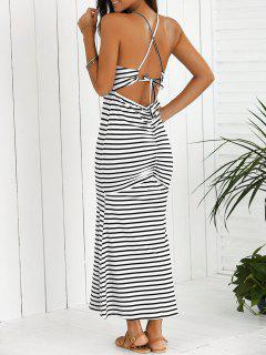 Halter Striped Maxi Dress - White And Black Xl