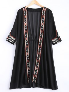 Embroidered Chiffon Sunscreen Kimono Blouse - Black