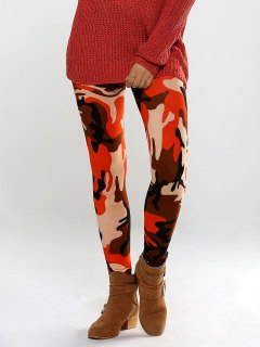 Colorful Camo Print High Waisted Leggings Pants - Orange