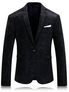Lapel Collar Single Button Jacquard Blazer - Black L