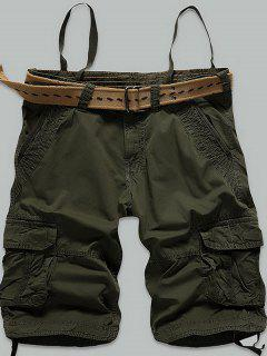 Stitch Multi-Pocket Zipper Fly Cargo Shorts - Army Green 38