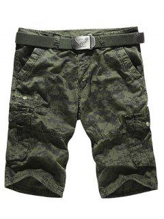 Camo Multi-Pocket Zipper Fly Cargo Shorts - Army Green 32