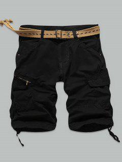 Pocket Rivet Zippered Knee Length Cargo Shorts - Black 34