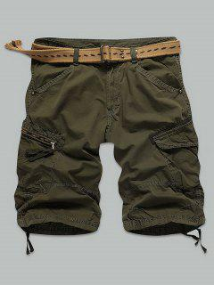 Pocket Rivet Zippered Knee Length Cargo Shorts - Army Green 32