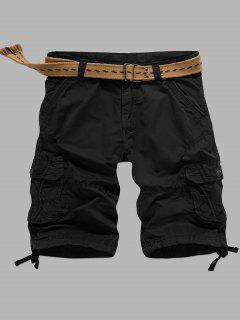 Multi-Pocket Zipper Fly Straight Cargo Shorts - Black 32