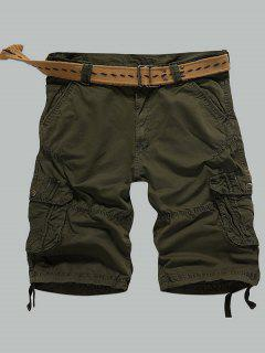 Multi-Pocket Zipper Fly Straight Cargo Shorts - Army Green 36