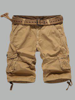 Multi-Pocket Zipper Fly Straight Cargo Shorts - Earthy 36