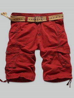 Multi Puntada Snap Button Bolsillos Con Cremallera Pantalones Cortos De Carga - Rojo 31