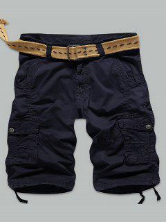 Multi Stitch Snap Button Pockets Zipper Fly Cargo Shorts - Deep Blue 34