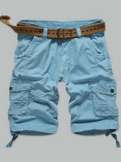 Multi Puntada Snap Button Bolsillos Con Cremallera Pantalones Cortos De Carga - Azur 30