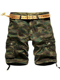 Camo Multi Stitch Snap Button Pockets Zipper Fly Cargo Shorts - Army Green 30