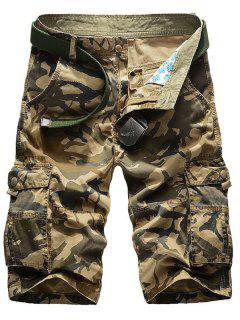 Camo Multi-Pocket Straight Leg Cargo Shorts - Khaki 34