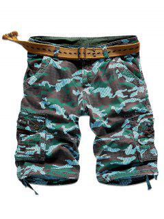 Camo Multi Stitch Snap Button Pockets Zipper Fly Cargo Shorts - Azure 38
