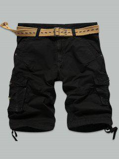 Straight Muti-Pocket Zipper Fly Cargo Shorts - Black 32