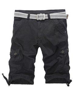 Loose-Fitting Zipper Fly Drawstring Hem Cargo Shorts - Black 30