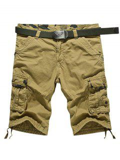 Knee Length Muti-Pocket Zipper Fly Cargo Shorts - Earthy 34