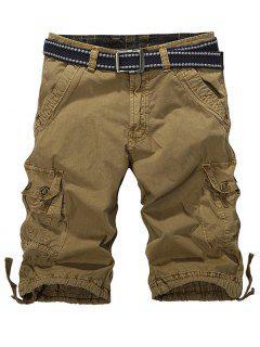 Loose-Fitting Zipper Fly Drawstring Hem Cargo Shorts - Dark Khaki 32