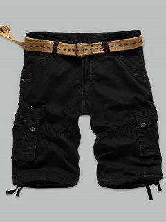 Rivet Embellished Muti-Pocket Zipper Fly Cargo Shorts - Black 34