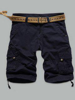 Rivet Embellished Muti-Pocket Zipper Fly Cargo Shorts - Deep Blue 32