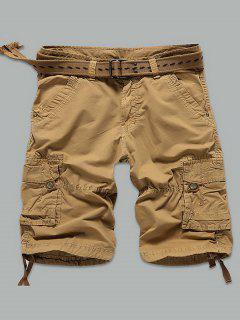 Rivet Embellished Muti-Pocket Zipper Fly Cargo Shorts - Earthy 34