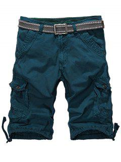 Loose-Fitting Zipper Fly Drawstring Hem Cargo Shorts - Blackish Green 32