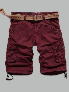 Straight Leg Rivet Embellished Muti-Pocket Cargo Shorts - Wine Red 31