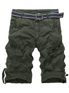 Knee Length Multi-Pocket Zipper Fly Cargo Shorts - Army Green 32