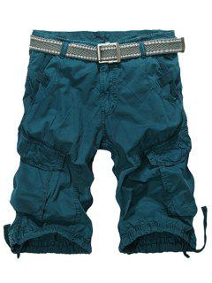 Knee Length Multi-Pocket Zipper Fly Cargo Shorts - Blackish Green 34